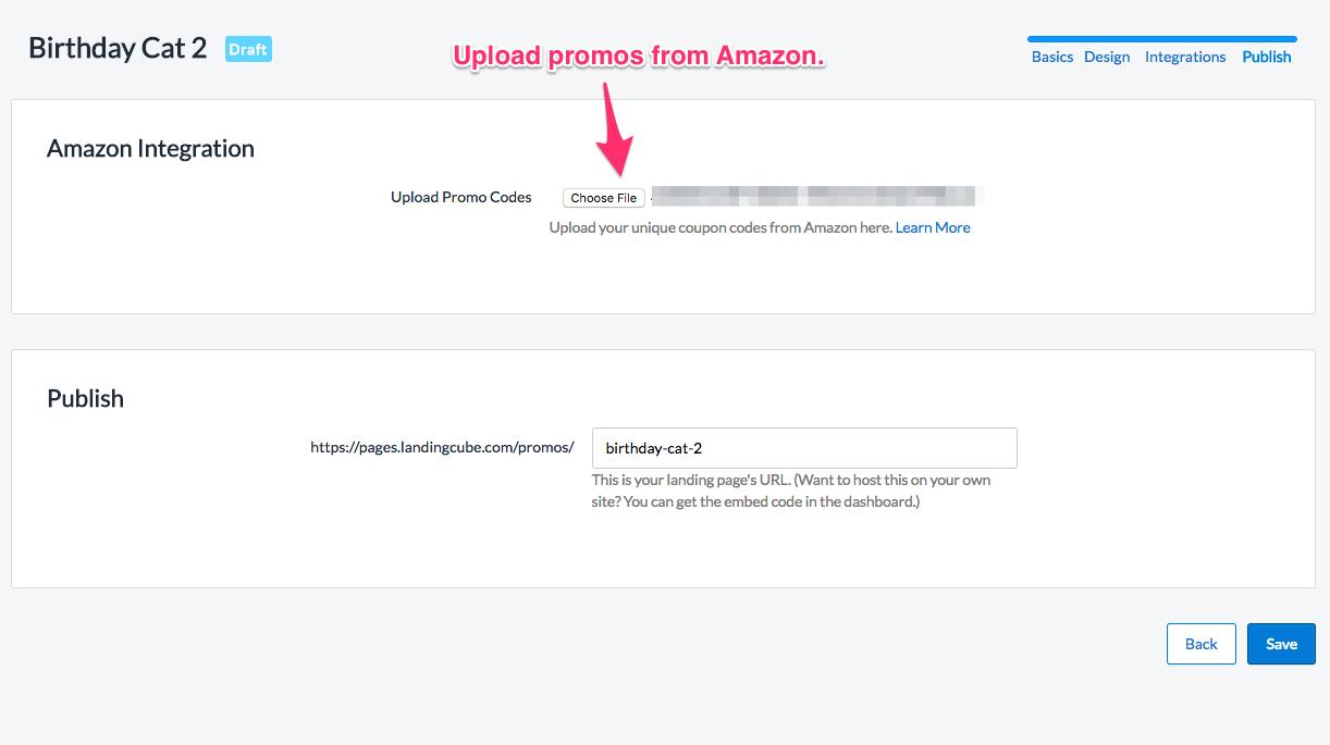 LandingCube promo code upload interface