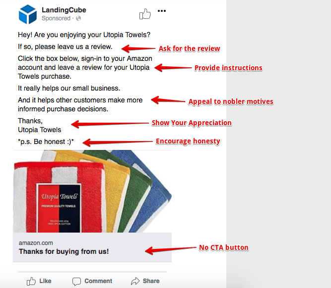 an example of a Facebook Ad for generating product reviews.