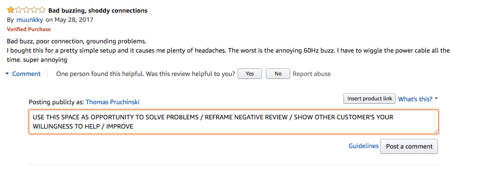 An example of how to respond to a negative amazon review