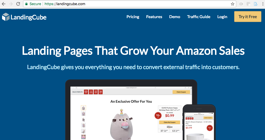 Amazon feedback software landing page promotions tool