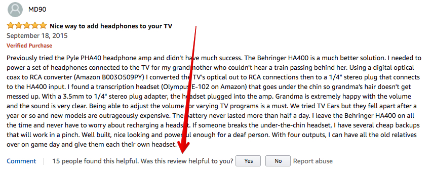 A verified purchase review on amazon showing helpfulness votes