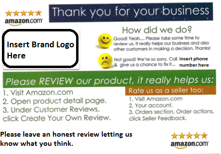 Product insert card used to get more amazon reviews