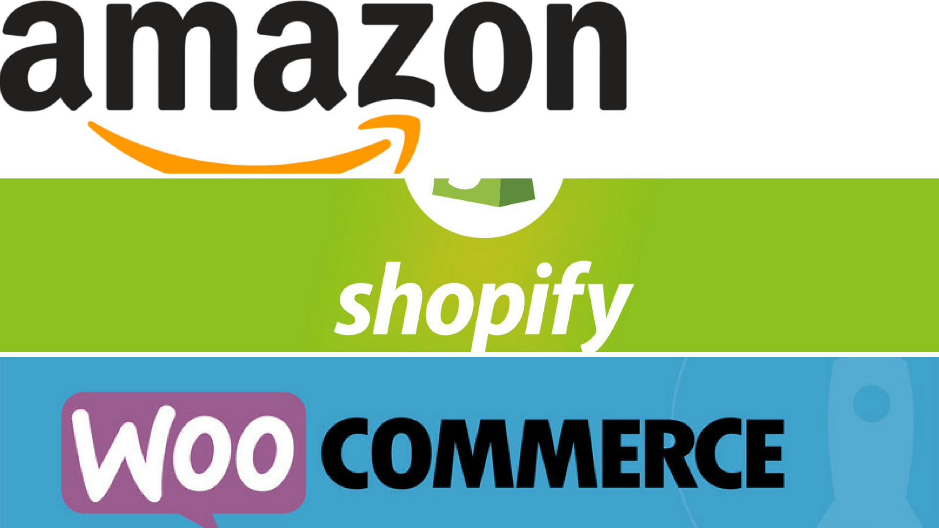 Popular e-commerce platforms Amazon, Shopify and WooCommerce