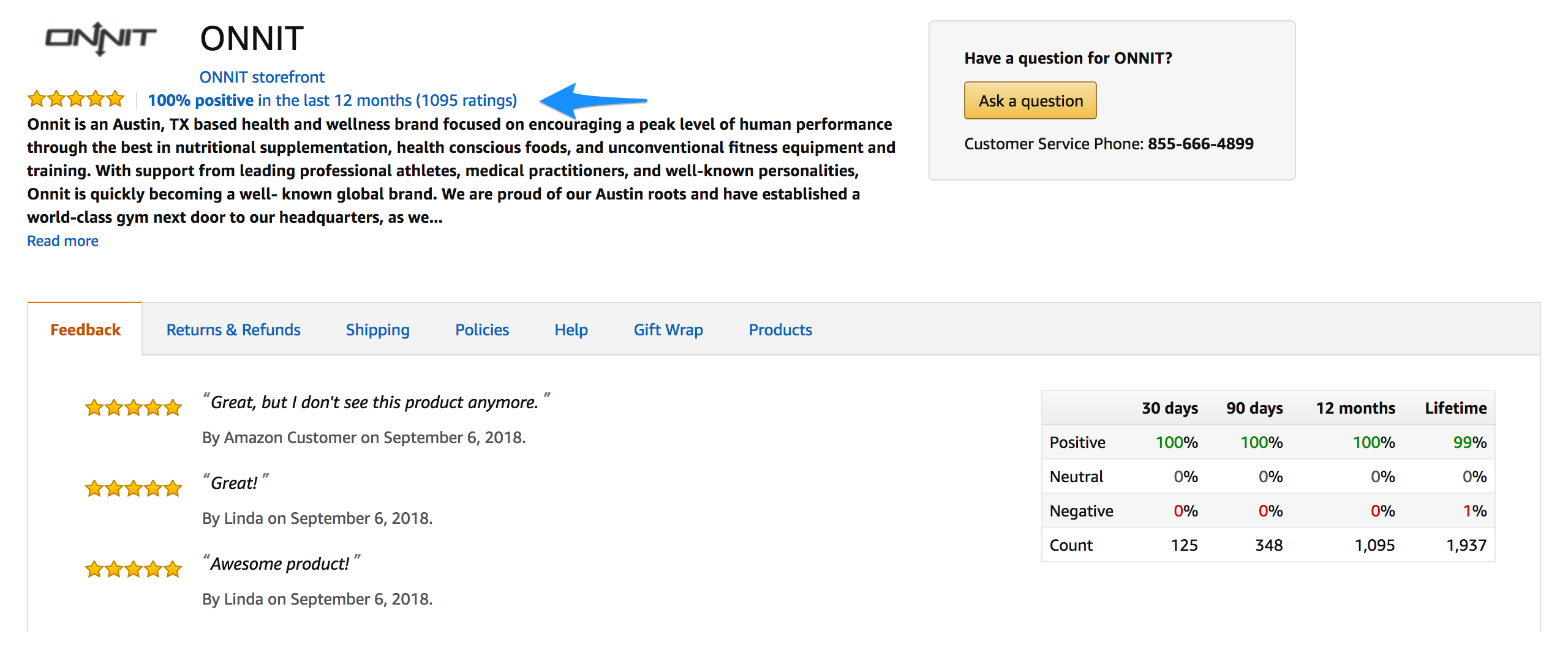 Example Amazon Seller Rating