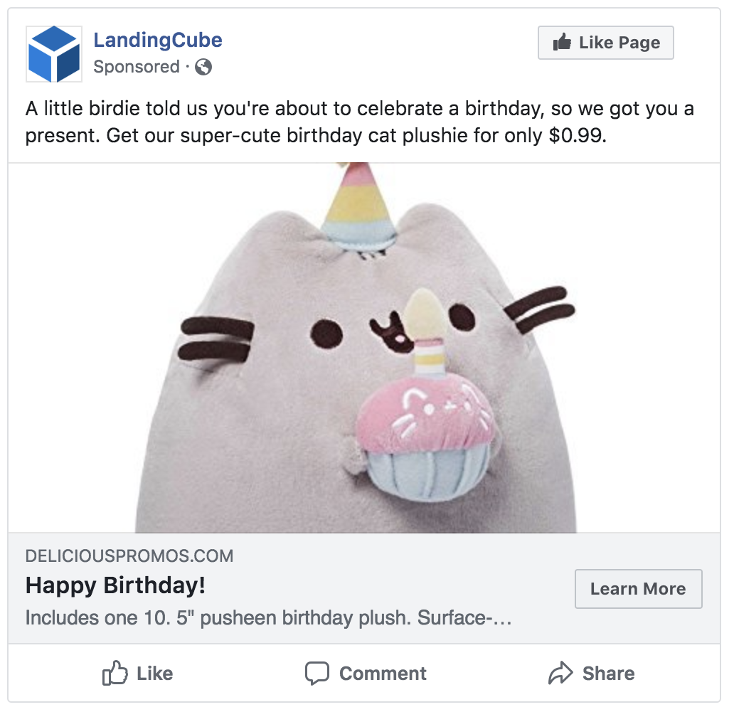 simple facebook image ad