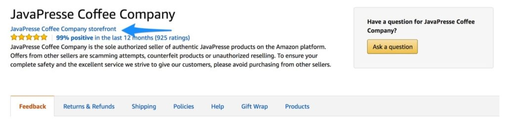 How to find an Amazon storefront - step 2