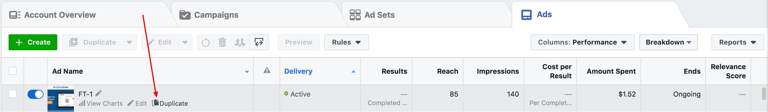 testing facebook ad creative