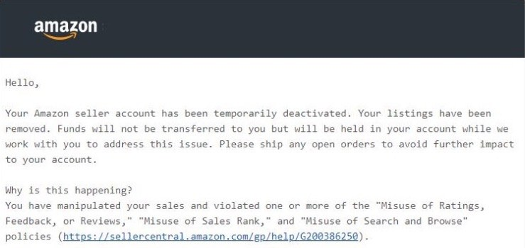 Seller account has been suspended - message from Amazon