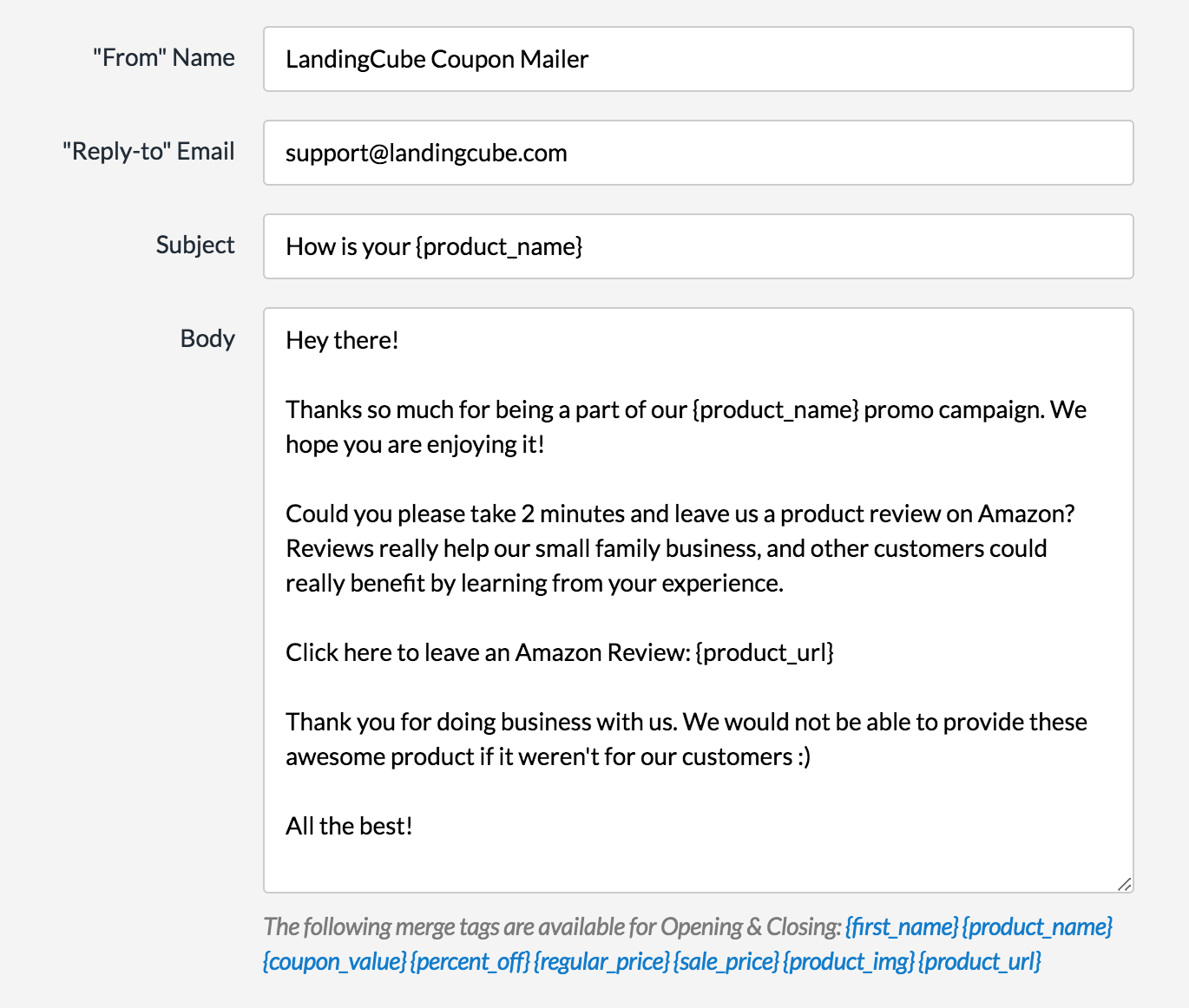 LandingCube follow-up email settings