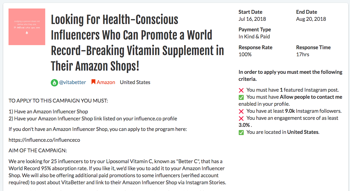 amazon influencer campaign