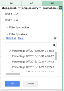 filter promotion ids