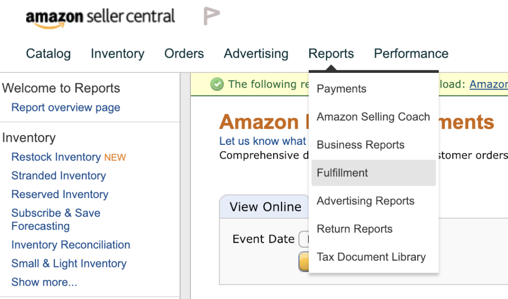 fulfillment reports tracking amazon promos