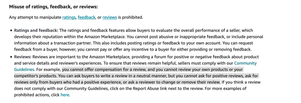 Amazon's Prohibited seller activities and actions: misuse of ratings, feedback or reviews