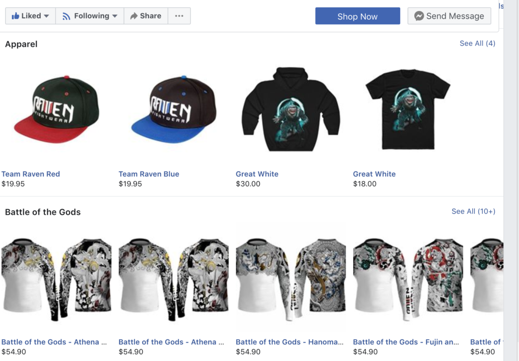 Facebook shopping page