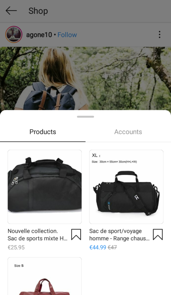 instagram shopping page