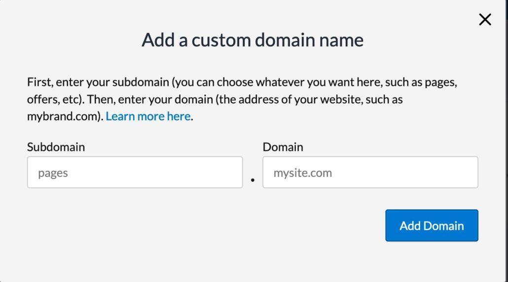 add a custom domain to LandingCube