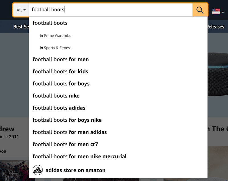 Amazon search suggestions