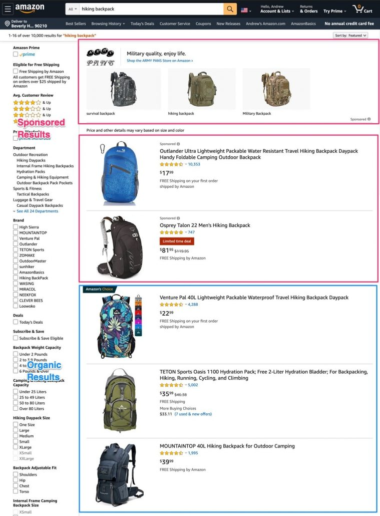 Amazon search - sponsored and organic results